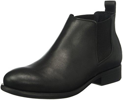 PIECES Psizi Leather Short New Boot Blc, Stivali Chelsea Donna, Nero (Black), 39 EU