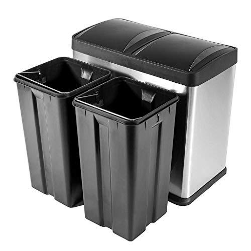 OSCAR Edelstahl 2 In 1 Fußpedal-Papierkorb Mülleimer 2 X 30L Recycling-Innenfächer Abschnitt Müll Küche Eco Abfall Mülleimer (Silber 60 L) (Mülleimer 2 Abschnitt)