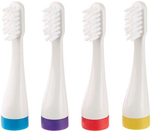 newgen medicals Zubehör zu Reise-Zahnbürste: Aufsteckbürsten in 4 Farben für Schallzahnbürste SZB-281, 4er-Set (Reise-Zahnbürste mit Ladebuchse)