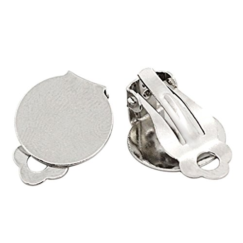 Housweety-50 Supports Pince Clips Boucle d'oreille 15x20mm-design personnalisé-charme pour la mode