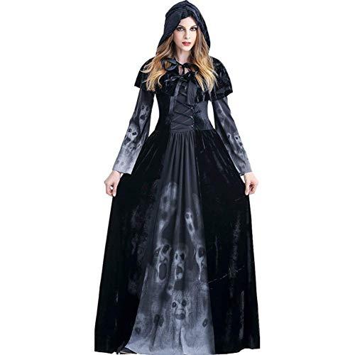 Reuvv Halloween Femminile Death Abito,Accappatoio con Cappuccio Costume Strega Vestito Terrore Teschio Gioco di Ruolo Abito Mantello Palco Costume per Donna - Large