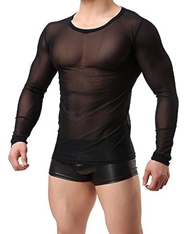 NYK Herren Langarm Shirt transparent Enganliegend Netz Unterhemd Unterwäsche Slim Fit Schwarz Neu (M/L)