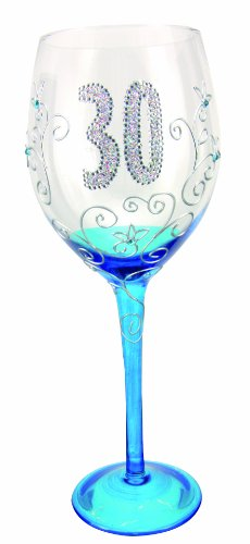 Boxer Tallulah Hand Decorated Clear Wine Glass with Gift Box, Age 30