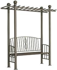 CLP Pergola ULPGAR 02 mit integrierter Sitzbank aus beschichtetem Eisen I Robustes bepflanzbares Terrassendach I Rankpavillon für Kletterpflanzen I Rankgestell mit kunstvollen Verzierungen Anthrazit