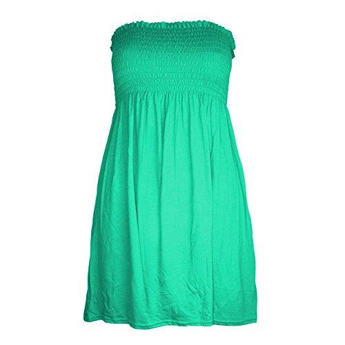 Janisramone des femmes de Femmes Grande Taille Sheering Bustier tubulaire Bandeau bretelles Top Robe débardeur 8 22 Jade Vert