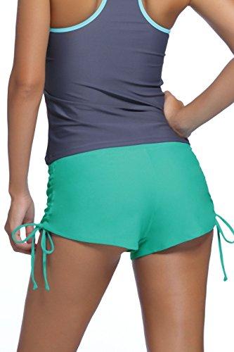 Damen Badehose Badeshorts Panty Shorts Kurze Hose Unterteil Kurz Uni Mint
