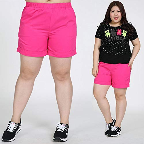 LKJH Shorts für FrauenSommer Frauen Extra Große Shorts Mitte Taille Elastische Taille Baumwolle Plus Größe, 6XL