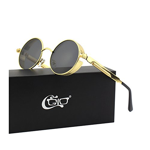 CGID E72 Retro Steampunk Style Inspired Round Metal Circle Polarized Sunglasses for Men