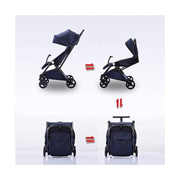REMTI Pushchairs Baby Cart Sit Lie Boarding Portable Folding Portable Parachute Children Trolley,Ash  Trolley type: boarding trolley Types of wheels for children's cars: natural rubber Frame material: high carbon steel / bearing: 25kg Basket fabric: pure cotton Age: new, 2, 3, 4 2