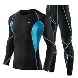 Lixada Set di Abbigliamento da Allenamento per Uomo 2 Pezzi Camicia e Pantaloni a Compressione a Manica Lunga a Rapida Asciugatura Set