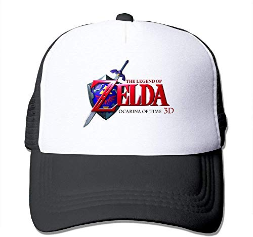 YVES Casual Adult Unisex The Legend of Zelda Ocarina of Time 3D Logo 100% Nylon Mesh Caps One Size Fits Most Adjustable Trucker Hat Black