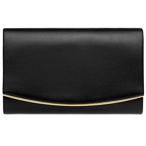 Caspar ta414 donna pochette con decorazione in metallo, colore:nero;dimensioni:one size