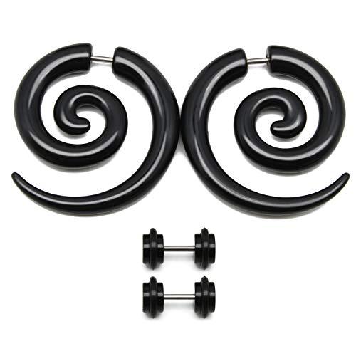 Funseedrr 2 coppie orecchino falso acrilico barella dell'orecchio orecchini neri orecchini a spirale espansore per orecchio tunnel 16 gauge