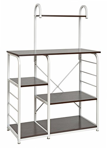 ts-ideen Standregal Hochregal MDF und Eisengestell Regal Holzoptik Küchen-Regal Mikrowellenhalter 135 x 90 cm
