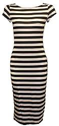 Women Ladies Printed Jersey Stretch Crew Neck Bodycon Cap Sleeve Midi Dress 8-26