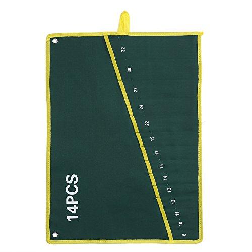Fdit Roll-Up-Werkzeugtasche mit Maulschlüssel, Zange, Organizer-Tasche aus strapazierfähigem Segeltuch 6/8/10/12/14/25 Taschen, 14Pockets