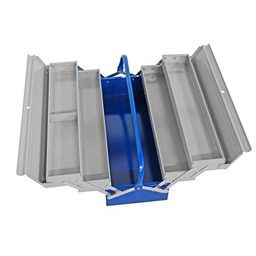 ADB Werkzeugkoffer/Werkzeugkiste aus Metall, 5-tlg,grau-blau,RAL5010/7001, aufklappbar, L530 x B200...