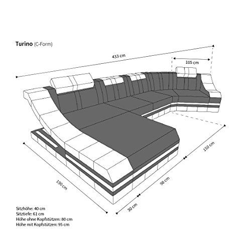 Luxus Sofa TURINO L-Form schwarz-weiss - 5