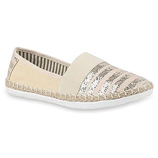 Bequeme Damen Espadrilles Bast Slipper Metallic Glitzer Flats Freizeit Sommer Schuhe 133156 Creme 38 Flandell