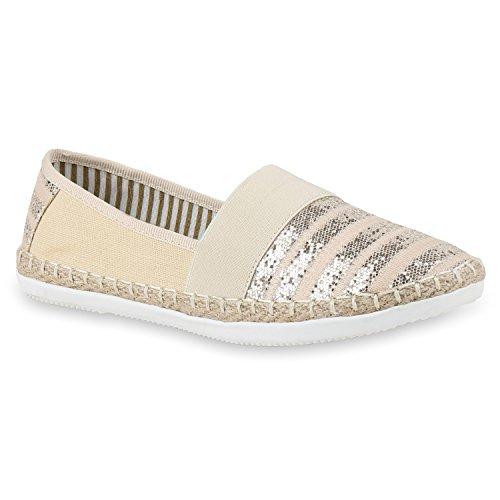stiefelparadies Bequeme Damen Espadrilles Bast Slipper Metallic Glitzer Flats Freizeit Sommer Schuhe 133156 Creme 40 Flandell