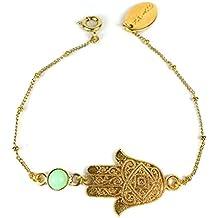 Süßes schlichtes Fusskettchen/Fusskette von GLOWYBOX mit Hamsahand/Fatima Hand und grüner Stein vergoldet // 20 cm