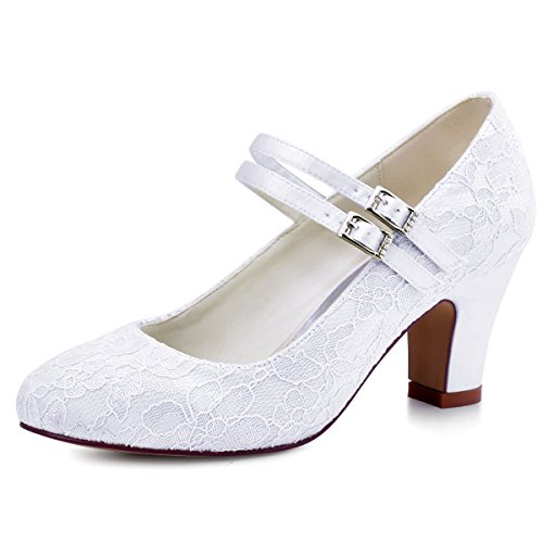 Elegantpark hc1708 donne chiuse a piede med heel mary jane pattini pizzo abito da sposa scarpe da sera bianco 36