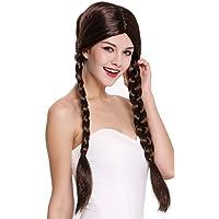 WIG ME UP ® - 90958-ZA4 Peluca mujer Carnaval Halloween marrón largo trenzas trenzadas colegiala traviesa