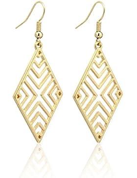 2LIVEfor Lange Statement Ohrringe Gold quadratisch Ohrhänger Retro Boho Ohrringe lang hängend Vintage Groß eckig...
