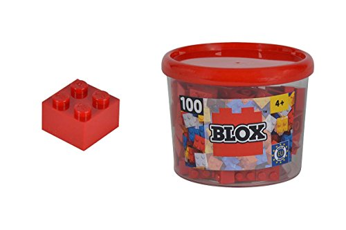 Simba 104114111 - Blox 100 Bausteine in Box, 4er Set, rot