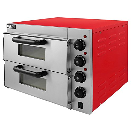Electric Pizza Oven with Audible Timer & Twin Deck Firebrick / Commercial Baking & Grilling