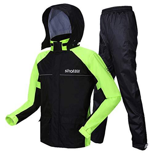 K&F-raincoat Herren Regenmantel  Warnschutz-Regenmantel Mit Kapuze  2-teiliges Set  Arbeitskleidung Siamese Jacket & Pants  wasserdichte Arbeitskleidung (Color : Green, Size : XL)
