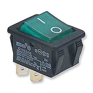 SWITCH DPST 16A 250V ILLUM GREEN Switches Rocker