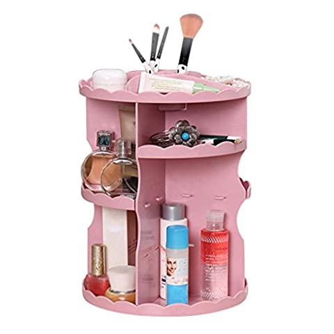 HKFV Superb Gorgeous New Design 360 Degree Rotating Cosmetic Display Spinning Rack Storage Box Makeup Convenience Set Up Your MAkeup (Pink)