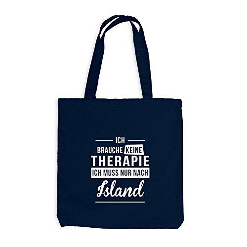 Jutebeutel - Ich Brauche Keine Therapie Island - Therapy Urlaub Iceland, Navy