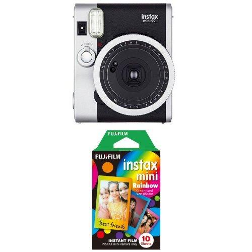 Fujifilm - Instax Mini 90 NEO Classic - Appareil Photo à Impression Instantanée - Noir + Rainbow Film 10 poses