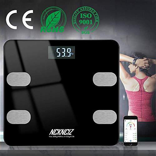 Báscula Grasa Corporal, Báscula de Baño Balanza Bluetooth Inteligente con APP para Android y iOS, Analizador de Composición para Control del Peso Grasa Músculo Caloría BMI Agua