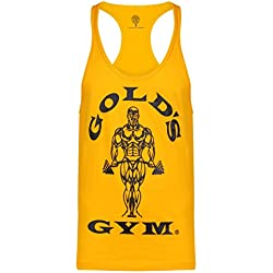 Gold´s Gym GGVST-003 Muscle Joe - Camiseta musculación para hombre, color amarillo, talla S