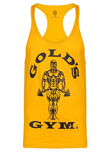 Gold´s Gym GGVST-003 Muscle Joe - Camiseta musculación para hombre, color amarillo, talla L