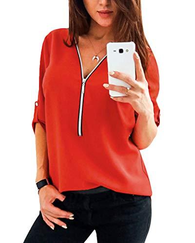 YOINS Sexy Oberteil Damen Herbst Elegante Langarmshirts Damen Bluse Tunika T-Shirt V-Ausschnitt Tops Rot S/EU36-38