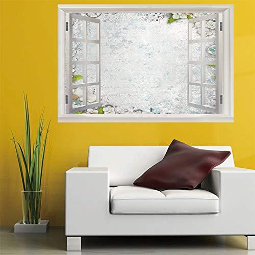 3D finto adesivo da parete finestra rotto buco (60X90Cm) fiore di quattro petali camera da letto camera paesaggio camera dei bambini decorazione della parete decorazione della casa