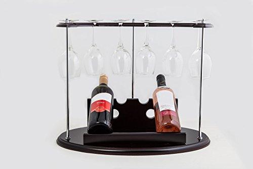 PORTOFINO Étui en bois vin-Support de présentation avec rangement pour 6 Verres à vin-Lot de 2 grands verres à vin-Lot de 2 petites bouteilles de vin, finition acajou