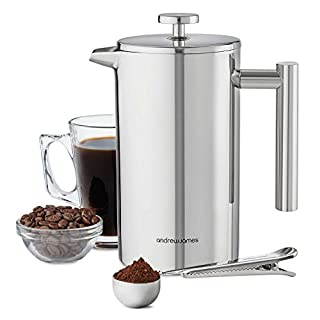 Andrew James Cafetiere Stainless Steel French Press 1000ml 6 Cup | Double Walled Insulation for Hot Barista Style Coffee | Large Jug with Cool-Touch Handle Measuring Spoon & Bag Sealing Clip