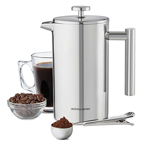 Andrew James French Press Kaffeebereiter aus Edelstahl 1000ml | Doppelwandig