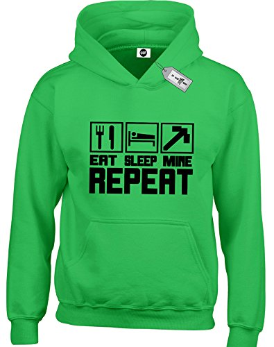 Eat Sleep Mine Repeat Kids Children Childrens Boys Girls Kids pullover hoodies hoods hooded sweatshirts minecraft gamer game birthday present XS S M L XL XXL computer game