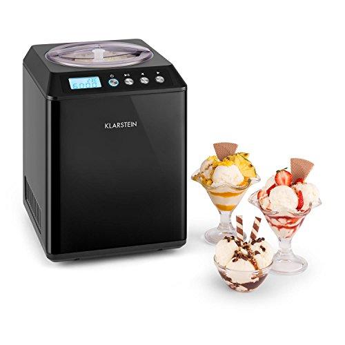 Klarstein • Vanilly Sky Family • Heladera • Yogurtera • Máquina de helados • Refrigeración retardada • Pantalla LED • 250 W • 2,5 litros • Vaso medidor de tamaño de una copa • Negra