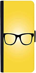 Snoogg Hipster Glasses Yellowdesigner Protective Flip Case Cover For Lg G2