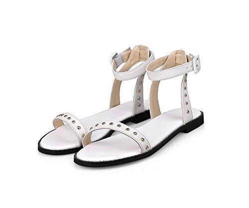 VogueZone009 Damen Weiches Material Schnalle Offener Zehe Ohne Absatz Rein Flache Sandalen Weiß