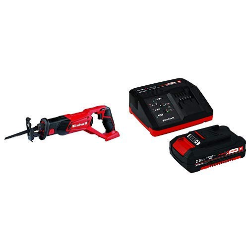 Einhell TE-AP 18 Li -Sierra de sable inalámbrica, sistema de gestión de la batería, 18 V, carcasa con soportes + 4512040 Kit con Cargador batería de Repuesto, tiempo de carga: 30 Minutos