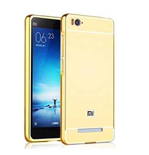 CLASSICO Luxury Aluminium Bumper Plus Mirror Acrylic Back Cover For Xiaomi Redmi 3s/ 3s Prime(GOLD)