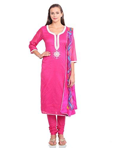 IndusDiva Embroidered Semi-stitched Kameez Set (MUM0860080_Pink_One Size)
